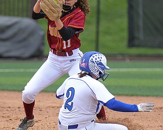 William D. Lewis the vindicator  poland's Camryn Lattanzio(2) is out at 2nd Making the tag is Mooney's Lexi Diaz(11).
