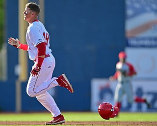 NILES, OHIO - MAY 14, 2019: Youngstown State's Trevor Wiersma runs to third after hitting a triple in the second inning of Tuesday nights game against Ohio State at Eastwood Field. Ohio State won 7-4. DAVID DERMER | THE VINDICATOR