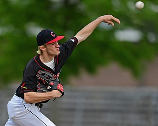 STRUTHERS, OHIO - MAY 15, 2019: Canfield starting pitcher Brent Herrmann delivers in the first inning of Wednesday nights OHSAA Tournament game at Cene Park. DAVID DERMER | THE VINDICATOR