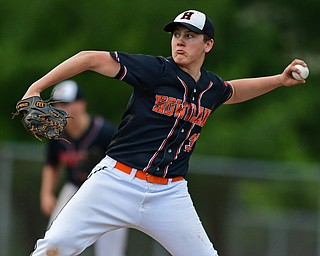 STRUTHERS, OHIO - MAY 15, 2019: Howland starting pitcher Brayden Gebhardt delivers in the second inning of Wednesday nights OHSAA Tournament game at Cene Park. DAVID DERMER | THE VINDICATOR