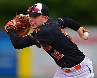 STRUTHERS, OHIO - MAY 15, 2019: Howland's Frankie Manios runs to first to force out Canfield's Brayden Beck in the second inning of Wednesday nights OHSAA Tournament game at Cene Park. DAVID DERMER | THE VINDICATOR