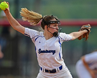 YOUNGSTOWN, OHIO - MAY 16, 2019: Poland starting pitcher Ashley Wire delivers in the seventh inning of Thursday afternoons OHSAA Tournament game at Youngstown State University. Poland won 7-6. DAVID DERMER | THE VINDICATOR