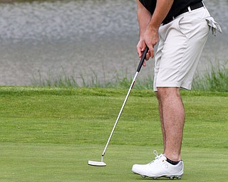 William D. Lewis The vindicator Joe Santisi lines up a putt at Firestone Farms during GGOV action 5-17-19.