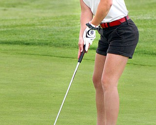 William D. Lewis The vindicator Leah Benson sinks a putt at Firestone Farms during GGOV action 5-17-19.