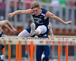 NEW SPRINGFIELD, OHIO - MAY 17, 2019: United's Jaret Hahn competes during the boys 110 meter hurdles, Friday night during the Division III District Track Meet at Springfield High School. DAVID DERMER | THE VINDICATOR