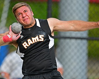 NEW SPRINGFIELD, OHIO - MAY 17, 2019: Mineral Ridge's Nathan Chiclowe competes during the boys shot-put, Friday night during the Division III District Track Meet at Springfield High School. DAVID DERMER | THE VINDICATOR