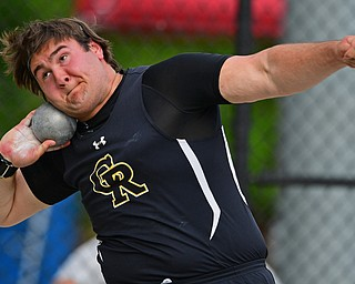 NEW SPRINGFIELD, OHIO - MAY 17, 2019: Crestview's Dominic Perry competes during the boys shot-put, Friday night during the Division III District Track Meet at Springfield High School. DAVID DERMER | THE VINDICATOR