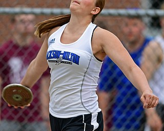 NEW SPRINGFIELD, OHIO - MAY 17, 2019: Jackson-Milton's Grace McDevitt competes during the girls discus, Friday night during the Division III District Track Meet at Springfield High School. DAVID DERMER | THE VINDICATOR