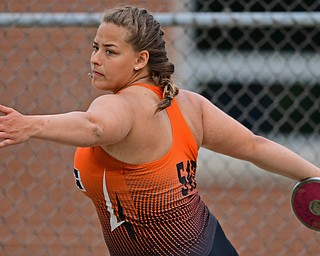 NEW SPRINGFIELD, OHIO - MAY 17, 2019: Newton Falls' Libby Barreca competes during the girls discus, Friday night during the Division III District Track Meet at Springfield High School. DAVID DERMER | THE VINDICATOR