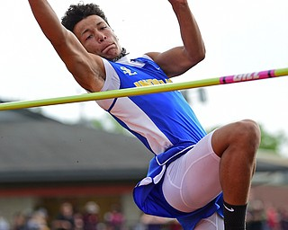NEW SPRINGFIELD, OHIO - MAY 17, 2019: Southern Local's Brad Sloan competes during the boys high jump, Friday night during the Division III District Track Meet at Springfield High School. DAVID DERMER | THE VINDICATOR
