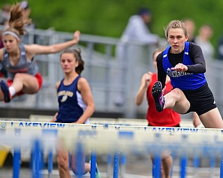 CORTLAND, OHIO - MAY 18, 2019: Lakeview's Ashley Bowker runs during the girls 100 meter hurdles, Saturday morning during the Division II District Track Meet at Lakeview High School. DAVID DERMER | THE VINDICATOR