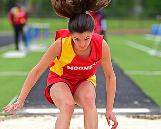 CORTLAND, OHIO - MAY 18, 2019: Mooney's Gia Diorio competes during the girls long jump, Saturday morning during the Division II District Track Meet at Lakeview High School. DAVID DERMER | THE VINDICATOR