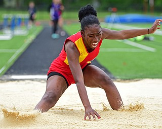 CORTLAND, OHIO - MAY 18, 2019: Mooney's Aunnasia Calhoun competes during the girls long jump, Saturday morning during the Division II District Track Meet at Lakeview High School. DAVID DERMER | THE VINDICATOR
