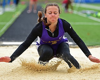 CORTLAND, OHIO - MAY 18, 2019: Champion's Kaylee Gania competes during the girls long jump, Saturday morning during the Division II District Track Meet at Lakeview High School. DAVID DERMER | THE VINDICATOR