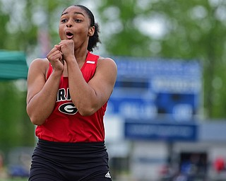 CORTLAND, OHIO - MAY 18, 2019: Girard's Jalaya Brown reacts after her jump during the girls long jump, Saturday morning during the Division II District Track Meet at Lakeview High School. DAVID DERMER | THE VINDICATOR