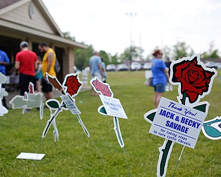 Cutouts of flowers with the names of donors decorate the grass outside Boardman Park's Masters Pavilion before the start of the 20th annual Mahoning/Trumbull Great Strides cystic fibrosis walk on Sunday afternoon. EMILY MATTHEWS   THE VINDICATOR