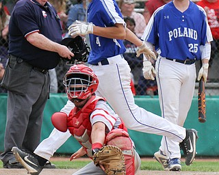William D. Lewis the vindictor Poland's Braden O'Shaughnessy(4) scores as Niles catcher Nick Guarnnieri   (7) tries for the ball. Atright i MJ Farber(25) during 5-21-19 win over Niles at Cene.