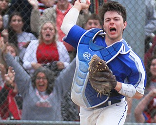 William D. Lewis The Vindictor Poland's catcher MJ Farber(25)  reacts during game ending play. Poland won 8-7.