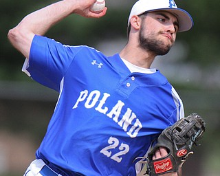 William D. Lewis the vindictor Poland starting pitcher Braden Olsen(22) delivers during 5-21-19 win over Niles at Cene.