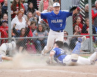 Poland's catcher MJ Farber (25) tags Niles' Brandon Hayes (12) as Poland's Alex Barth (2) reacts during game ending play. Poland won 8-7.
