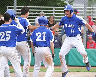 William D. Lewis the vindictor Poland's Zachary Yaskulka(44) reacts after hitting game winning homer during 5-21-19 win over Niles at Cene.
