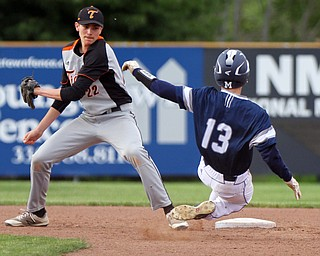 William D. Lewis the vindicator McDonad's Riley Lewis(13) is out at 2nd as Springfield's Drew Clark makes the tag.