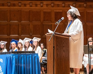 DIANNA OATRIDGE | THE VINDICATOR  Valedictorian Abigail Long gives her commencment address at the Class of 2019 Hubbard High School Commencement held at Stambaugh Auditorium on Wednesday night.