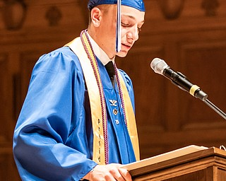 DIANNA OATRIDGE | THE VINDICATOR  Class President Max Korenyi-Both announces the graduates at the Class of 2019 Hubbard High School Commencement held at Stambaugh Auditorium on Wednesday night.