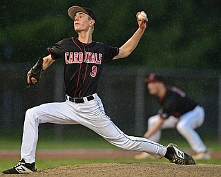 STRUTHERS, OHIO - MAY 22, 2019: Canfield starting pitcher Brayden Beck delivers in the second inning of their OHSAA Tournament game, Wednesday night at Cene Park. DAVID DERMER | THE VINDICATOR