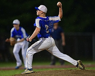 STRUTHERS, OHIO - MAY 22, 2019: Poland starting pitcher Alex Barth delivers in the third inning of their OHSAA Tournament game, Wednesday night at Cene Park. DAVID DERMER | THE VINDICATOR
