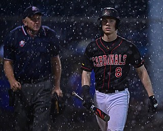 STRUTHERS, OHIO - MAY 22, 2019: Canfield's Dom Pilolli walks to the dugout after the start of a rain delay in the third inning of their OHSAA Tournament game, Wednesday night at Cene Park. DAVID DERMER | THE VINDICATOR