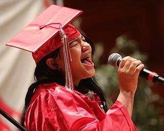 ROBERT K.YOSAY  | THE VINDICATOR..Chaney High School class of 2019. Stambaugh Auditorium ..singing the national anthem  amya franziskakis (OK)