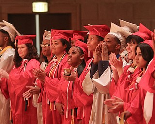 ROBERT K.YOSAY  | THE VINDICATOR..Chaney High School class of 2019. Stambaugh Auditorium ..Chaney graduates  cheer themselves on in accepting the  graduation from high school from Brenda Kimble