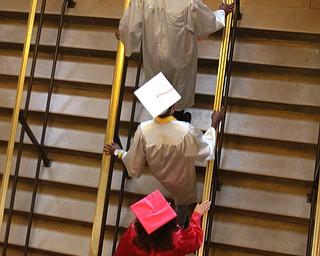 ROBERT K.YOSAY  | THE VINDICATOR..Chaney High School class of 2019. Stambaugh Auditorium ..Chaney graduates climb the stairs to the auditorium for graduation