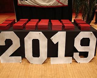 ROBERT K.YOSAY  | THE VINDICATOR..Chaney High School class of 2019. Stambaugh Auditorium ..diplomas and the year on stage await graduates