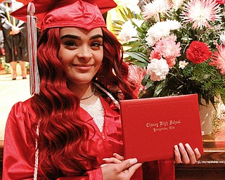 ROBERT K.YOSAY  | THE VINDICATOR..Chaney High School class of 2019. Stambaugh Auditorium ..Tamara Rios .. who will enter the Army .. shows off her diploma