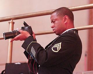 ROBERT K.YOSAY  | THE VINDICATOR..Chaney High School class of 2019. Stambaugh Auditorium ..staff sgt  devin jones  records the morning ceremonies