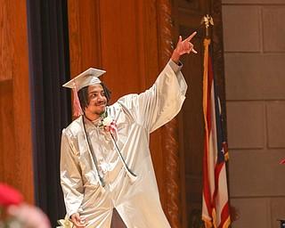 ROBERT K.YOSAY  | THE VINDICATOR..Chaney High School class of 2019. Stambaugh Auditorium ..yep    Brandyn Luckett (ok)   thanks his family  before  getting his diploma