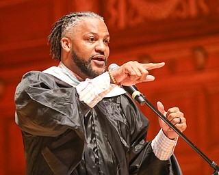 ROBERT K.YOSAY  | THE VINDICATOR..Chaney High School class of 2019. Stambaugh Auditorium ..New CEO of Youngstown Schools Justin Jennings  bestows two 500 scholarships to deserving students and will continue each year for each class