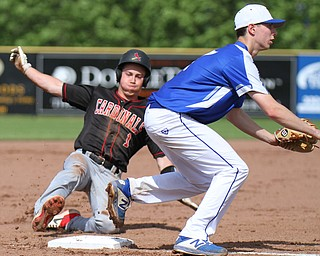William D. Lewis The Vindicator  Canfield's Chance Merlin(1) slides safely into 3rd as Poland'sStephen Carney(17) waits for the throw.