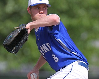 William D. Lewis The Vindicator  Poland pitcher Jared Knight(8) delivers in 5-23-19 win over Canfield at Cene.