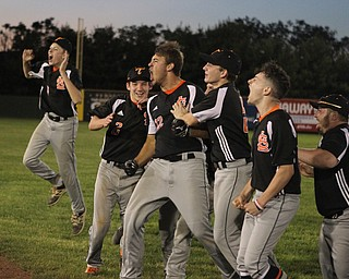 Springfield cleared their bench to celebrate a walk off win against Warren JFK at Cene Park in Struthers on Thursday night.   Dustin Livesay     The Vindicator  5/23/19  Cene Park.