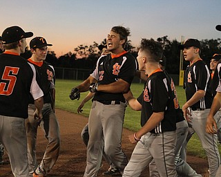Shane Eynon of Springfield celebrates in the infield after hitting a game winning walk off single to defeat Warren JFK in the Distrct Championship at Cene Park in Struthers on Thursday night.   Dustin Livesay     The Vindicator  5/23/19  Cene Park.