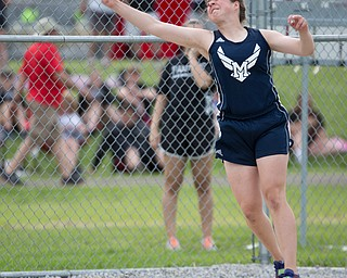 McDonald's Trinity Hobbs competes in the girls discuss throw during the Division III regional track meet at Massillon Perry High School on Friday. EMILY MATTHEWS | THE VINDICATOR