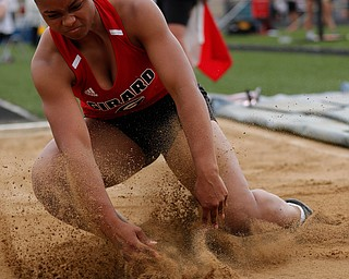 AUSTINTOWN, OHIO - May 24, 2019: Track & Field  D2 Region at Austintown-Fitch High School. .Girard's Jalaya Brown long jumps 17-05.75 feet to win. Photo by MICHAEL G. TAYLOR | THE VINDICATOR