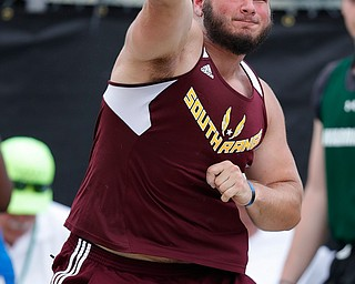 AUSTINTOWN, OHISot putO - May 24, 2019: Track & Field  D2 Region at Austintown-Fitch High School. .Boys Shot Put. South Range's Jordan Lowery finishes wins with a throw of 49-09.25 feet. Photo by MICHAEL G. TAYLOR | THE VINDICATOR