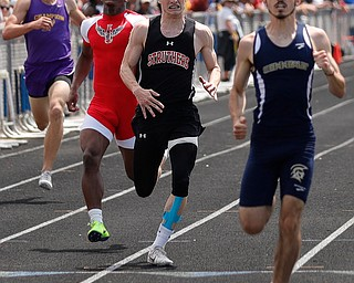 AUSTINTOWN, OHIO - May 24, 2019: Track & Field  D2 Region at Austintown-Fitch High School. .Boys 400m. Struther's Aiden Hall finishes 2nd in a time of 49.39 secs. to qualify for the state meet, Photo by MICHAEL G. TAYLOR | THE VINDICATOR