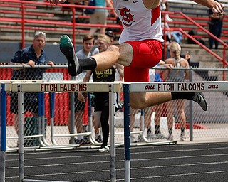 AUSTINTOWN, OHIO - May 24, 2019: Track & Field  D2 Region at Austintown-Fitch High School. .Boys 300m hurdles. Salem's Zach Murray finishes 2nd in a time of 39.26 secs. to qualify for the state meet, Photo by MICHAEL G. TAYLOR | THE VINDICATOR