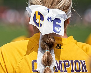 DIANNA OATRIDGE | THE VINDICATOR  Champion's Allison Smith sports a personalized hair bow for the Division III Regional Final against Northwestern on Saturday in Massillon.