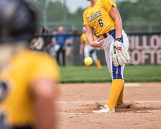 DIANNA OATRIDGE | THE VINDICATOR  Champion's Allison Smith (6) fires a pitch to catcher Gabby Hollenbaugh during their 3-0 victory against Northwestern in the Division III Regional Final on Saturday in Massillon.